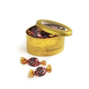 Chocolate Peppermint Truffles, Gold Tin, Wrapped   GODIVA