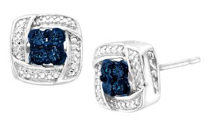 $24Stud Earrings with Blue & White Diamonds