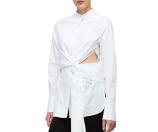 3.1 Phillip Lim Long-Sleeve Cotton Side-Slit Blouse, White