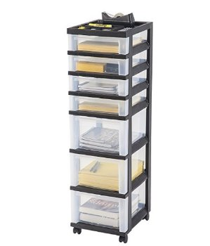 $35.99 IRIS 7-Drawer Storage Cart with Organizer Top, Black