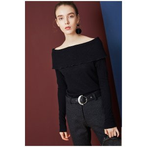 Wool Off The Shoulder Plain Top-Black TP1674