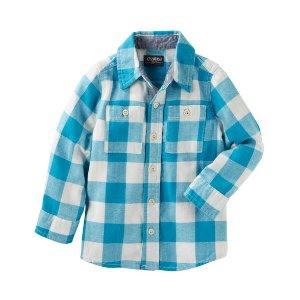 Kid Boy 2-Pocket Plaid Button-Front Shirt | OshKosh.com