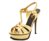 Tribute Metallic Leather Platform Sandal by Saint Laurent Paris