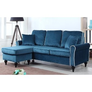 Roy Traditional Small Velvet Sectional - Sofamania
