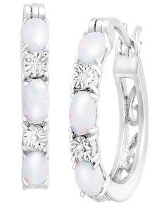 1 ct Opal Hoop Earrings with Diamonds