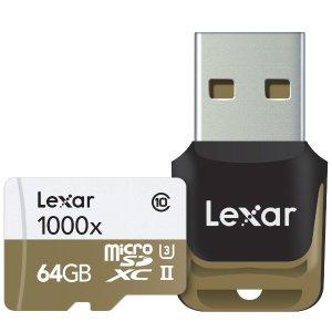 Lexar Professional 1000x microSDXC 64GB UHS-II/U3 w/ USB3.0 Reader