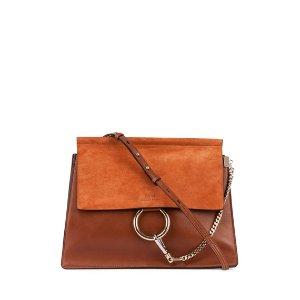 Chloe Faye Medium Leather/Suede Bag, Caramel