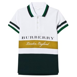 Burberry White and Green Stripe Branded Polo | AlexandAlexa