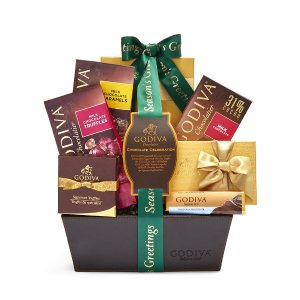 Season's Greetings Chocolate Celebration Basket, Forest Green Ribbon