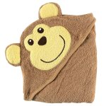 Luvable Friends Animal Face Hooded Woven Terry Baby Towel, Monkey