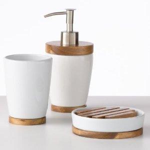 Home Classics® Acacia and Ceramic Bathroom Accessories Collection