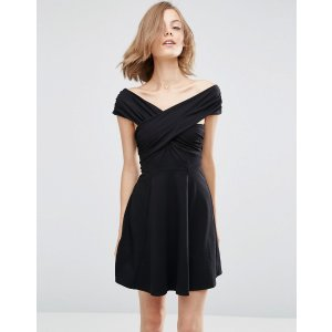 ASOS | ASOS Mini Skater Dress with Bardot Neckline