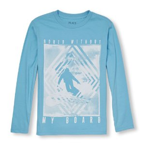 Boys Long Sleeve 'Bored Without My Board' Snowboarder Graphic Tee | The Children's Place