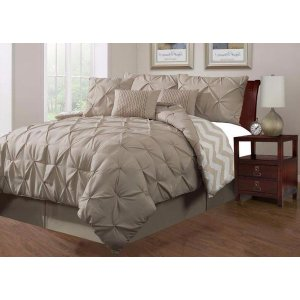 Taupe Pinch Pleated King Size Comforters | Sofa Mania - 7PC-PINCH-TAUPE-KING - Sofamania