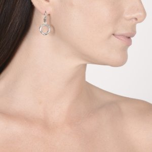 Ribbon and Reed Signature Classic Mini Circle Drop Earrings in sterling silver