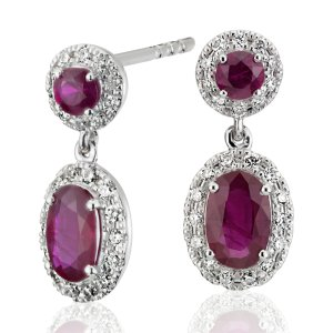 Ruby and Diamond Halo Drop Earrings in 14k White Gold (6x4mm) | Blue Nile