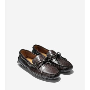 Grant Canoe Camp Moccasins in Chestnut Croc Print   Cole Haan