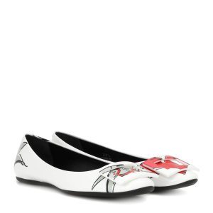 Roger Vivier Love Tattoo printed patent leather ballerinas