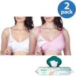 Loving Moments by Leading Lady Maternity Wirefree Softcup Nursing Bra 2-Pack Plus BONUS Pampers Wipes