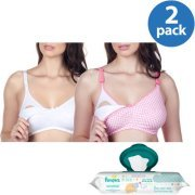 Maternity Wirefree Softcup Nursing Bra 2-Pack Plus BONUS Pampers Wipes