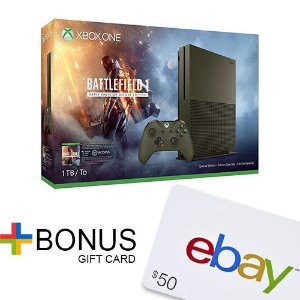 $299.99Xbox One S 1 TB - Battlefield 1 Bundle + $50 eBay Gift Card