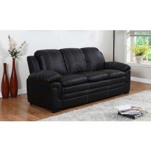 Black Leather Sofa   Sofa Mania - EXP61-3S-BLK - Sofamania