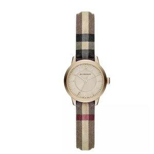 Burberry 26mm Round Golden Watch w/ Check Strap, Multi