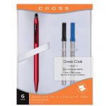 Cross Classic Click Gel Ink Pen with 2 Bonus Refills (Satin Red)