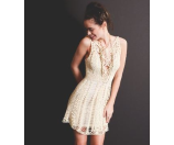 Free People Macrame Mini Dress Ivory Combo - 6pm.com