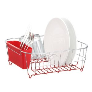 Deluxe Chrome-plated Steel Small Dish Drainers (Red)