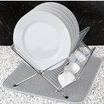 S&T Microfiber Dish Drying Mat, White Trellis