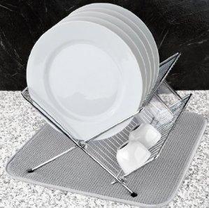 Lightning deal! $6.10 S&T Microfiber Dish Drying Mat, White Trellis