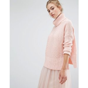 Miss Selfridge Chunky Pointelle Roll Neck Sweater