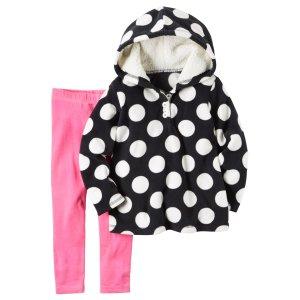 Baby Girl 2-Piece Fleece Hoodie & Legging Set | Carters.com