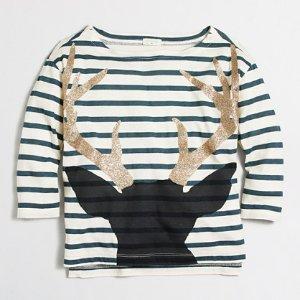 Girls' long-sleeve striped antlers keepsake T-shirt : keepsake t-shirts | J.Crew Factory