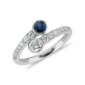Sapphire and Diamond Two-Stone Ring in 14k White Gold (Limited Edition) | Blue Nile