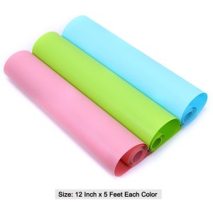 Honla Vinyl Shelf Liner/Paper Rolls,Non-Adhesive&Non-Slip,12 Inch Wide x 15 Feet Long,Pink,Light Blue,Lime Green