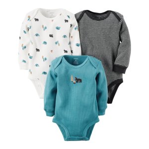 Baby Boy 3-Pack Long-Sleeve Thermal Bodysuits | Carters.com