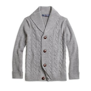 Boys' Merino Wool Grey Shawl Collar Cable Cardigan | Brooks Brothers