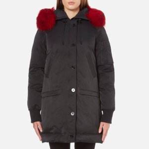 KENZO Women's Removable Red Fur Lined Long Parka - Black - Free UK Delivery over £50