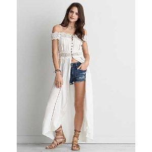 AEO Cold Shoulder Button Maxi Dress , White
