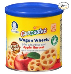 $8.30 Prime Members Only: Gerber Graduates Finger Foods Harvest Apple Wagon Wheels, 1.48-Ounce Canisters (Pack of 6)