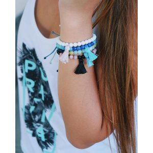 Black and Coral Mala Bead | Pura Vida Bracelets