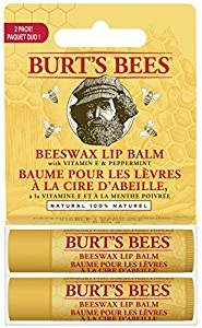 $4.28 Burt's Bees 100% Natural Lip Balm, Beeswax, 0.3 Ounce, 2 Count