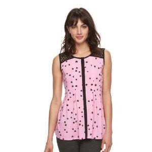 Women's ELLE™ Pleated Lace Tank