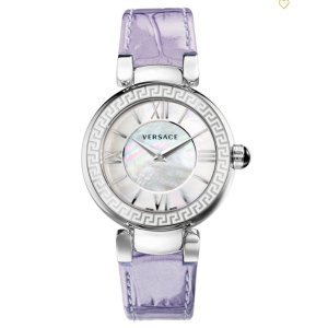 VERSACE:LEDA MOP DIAL LILAC LEATHER STRAP WATCH