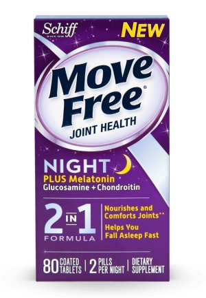 Move Free Advanced Night Glucosamine Chondroitin Melatonin and Hyaluronic Acid Joint Supplement, 80 Count