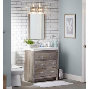 Glacier Bay Woodbrook 30.5 in. W Vanity in White Washed Oak with Cultured Marble Vanity Top in White with White Basin and Mirror-WB30P3-WO - The Home Depot