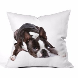 DENY Designs Susan Goddard Boston Terrier Fleece Throw Pillow | zulily