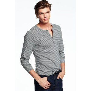 Men's Seaworn Long Sleeve Stripe Henley Shirt from Lands' End